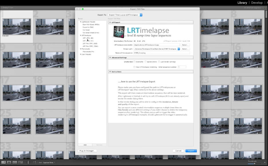 Final step: back to Adobe Lightroom and Export the final time-lapse sequence