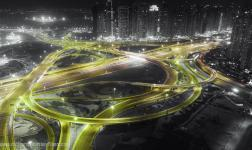 Dubai in a time-lapse selectively desaturated