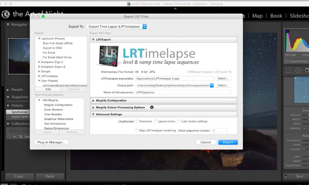 Export all images to LRTimelapse